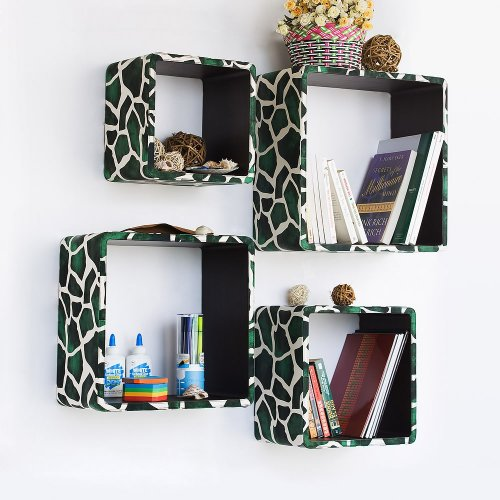 Trista - [Green Giraffe] Square Leather Wall Shelf / Bookshelf / Floating Shelf (Set of 4)