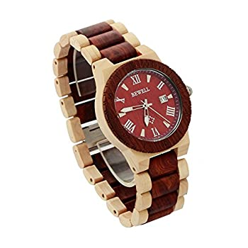 Ideashop Men's White and Red Wood Watches Quartz Retro Antique Wood Wristwatch with Date Function Unique Gift