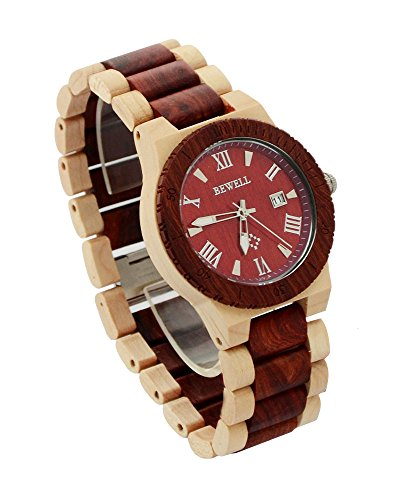 Ideashop Men's White and Red Wood Watches Quartz Retro Antique Wood Wristwatch with Date Function Unique Gift 0