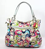 Coach Poppy Ikat Glamour Signature Zip Tote Bag 19876 Multicolored thumbnail