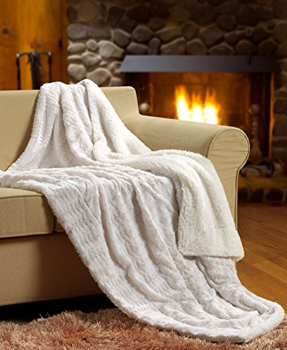 "Read About Tache White Ivory Super Soft Warm Polar Faux Fur with Sherpa Throw Blanket 50""x60&qu..."