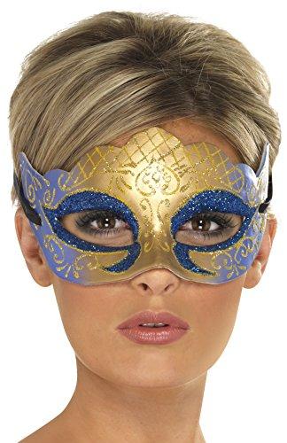 Smiffys - Masque Venitien Bleu Et Or A Paillettes