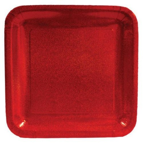 "Creative Converting Glitz Red 10"" Square Prismatic Banquet Plates, 8 Count - 1"