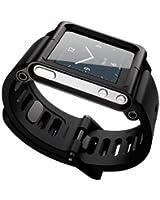 [Bamboo]Apple iPod Nano 6 6nd 6G 6Th Aluminium MÉtal Voir Band Poignet Kit Smart Cover Étui Housse Pour Apple iPod Nano 6 6nd 6G 6Th,Noir