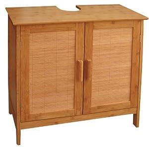meuble sous lavabo salle de bains bambou 60x30x62cm cuisine maison. Black Bedroom Furniture Sets. Home Design Ideas