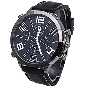 Men Quartz Wristwatch Silicon Band Round Dial White Arabic Numerals Analog