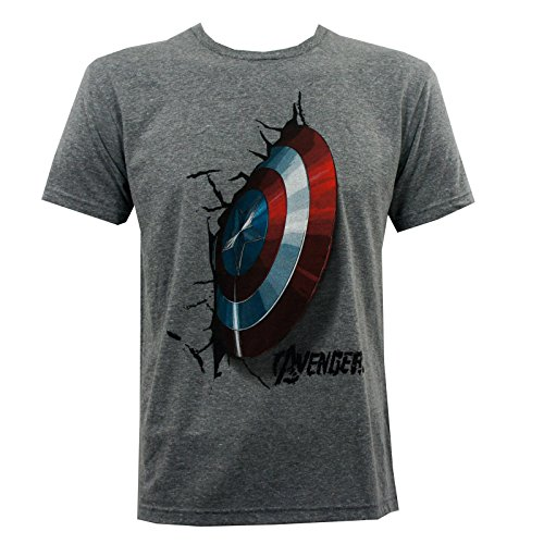 Marvel Avengers Mens Captain America Crash Shield Age Of Ultron T-Shirt