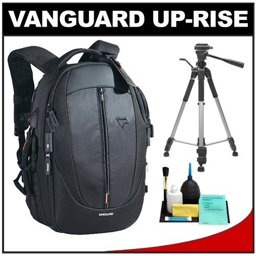 Vanguard Up-Rise 45 Digital SLR Camera Backpack Case (Black) with Deluxe Photo/Video Tripod + Accessory Kit for Canon EOS 7D, 5D Mark II III, 60D, Rebel T3, T3i, Nikon D3100, D3200, D5100, D7000, D800, A35, A55, A57, A65, A77 Digital SLR Cameras