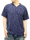 (マルカワジーンズパワージーンズバリュー) Marukawa JEANS POWER JEANS VALUE 3color 大きいサイズ メンズ Tシャツ 半袖 トリッキー 杢 ワッフル ヘンリーネック 3L ネイビー