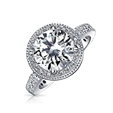 buy Bling Jewelry Sterling Silver Round Cz Halo Pave Band Engagement Ring 2.75Ct