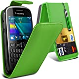 (Green) Blackberry Curve 9360 Custome Made Faux Leather Debit/Credit Card Slot Flip Case Cover Skin, Retractable Capacative Touch Screen Stylus Pen &Screen Protector Guard By *Aventus*