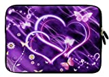Wayzon Premium Quality 11.5 inch X 8 inch Water Resistant Neoprene Soft Zip Sleeve Case Cover Pouch Skin Holster With Dazzeling Hearts & Butterflies On Purple Aishy Surface suitable for Yarvik TAB465EUK GoTab Exxa Tablet