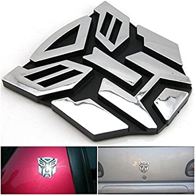 1 Pc Amazing Modern 3D Logo Autobot Car Sticker Graphics Decal Transformers Rear Protector Colors Chrome Silver