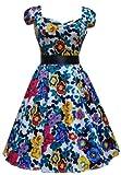 Ladies 1940's 1950's Vintage Style Vibrant Vintage Floral Print Tea Dress