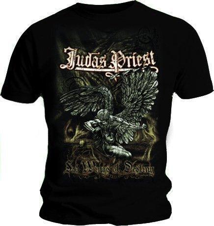 JUDAS PRIEST-Maglietta ufficiale triste Vintage, effetto invecchiato, motivo: ali di angelo, per tutte le misure Nero  nero