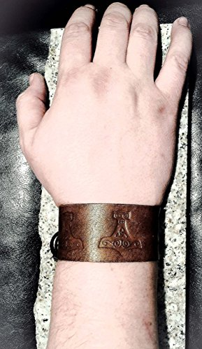 Viking Genuine Leather Adjustable Wrist Cuff with Thor's Hammer Mjolnir