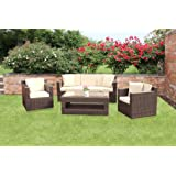 Richmond All Weather Outdoor Rattan Garden Sofa Set in Brownby Wovenhill Rattan...