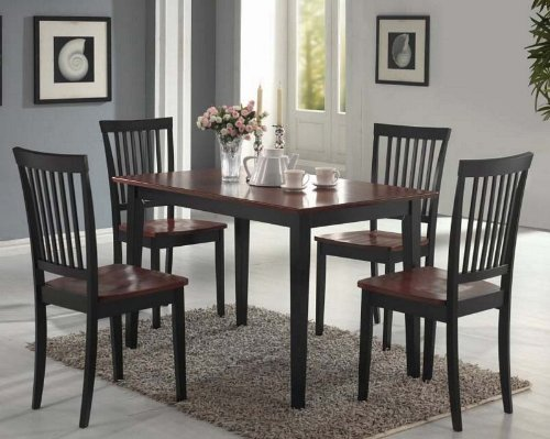 Coaster 5-Piece Dining Set, Table Top with 4 Chairs, Dirty Oak and black
