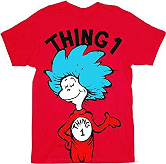 Dr. Seuss Thing 1 or Thing 2 Adult Red T-shirt (Adult X-Small, Thing 1)