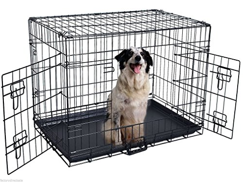 Fashion 42'' 2 Doors Wire Folding Pet Crate Dog Cat Cage Suitcase Kennel Playpen w/ Tray (Kennel Tabletop compare prices)