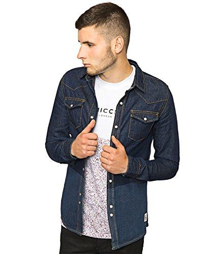 Bellfield -  Camicia Casual  - Camicia - Basic - Classico  - Maniche lunghe  - Uomo blu Small