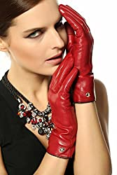 Elma Women's Touch Screen Italian Nappa Leather Winter Texting Gloves (7.5, Burgundy)