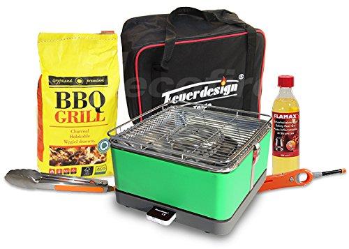Rauchfreier Holzkohle Tischgrill TEIDE v. Feuerdesign – Grün, im Super Pack mit viel Grill-Zubehör jetzt bestellen