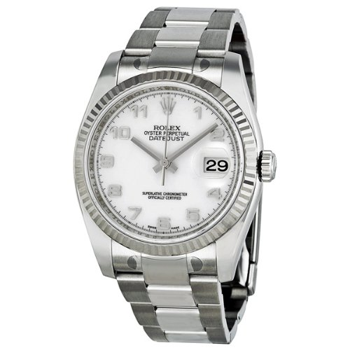 Rolex Datejust White Dial Automatic White Gold Bezel Steel Ladies Watch 116234WAO