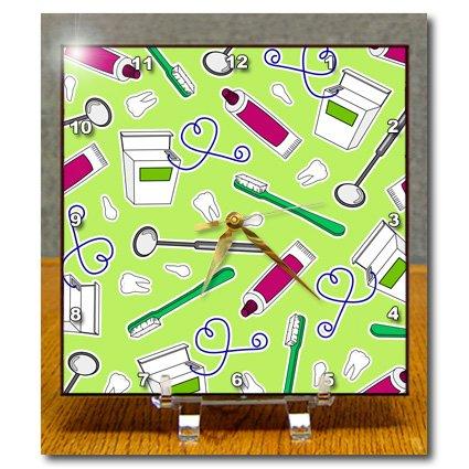 Dc_165820_1 Janna Salak Designs Occupational Gifts - Cute Dentist Dental Hygienist Print Green - Desk Clocks - 6X6 Desk Clock