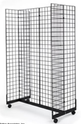 2' x 6' Grid Panel Floorstanding Display Fixture with Gondola Base. Matte Black