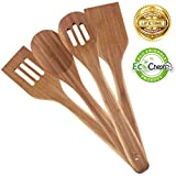Best Bamboo Utensil Set, 4 Piece Kitchen Tools by EcoCheph; Premium Healthy Cooking Gadgets; Durable, Eco-friendly Natural Bamboo; Easy to Clean, Non Scratch, Stylish Utensils Enhance Your Home!