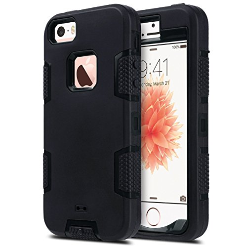 iPhone 5S Case, iPhone 5 Case,iPhone SE Case, ULAK 3in1 Shockproof Combo Hybrid Hard Rigid PC + Soft Silicone Protective Case Cover for Apple iPhone 5 5S SE (Black) (Iphone 5s Protective Black Case compare prices)
