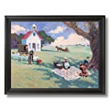 Solid Wood Black Framed Amish Picnic Church Horse Kids Country Landscape Pictures Art Print