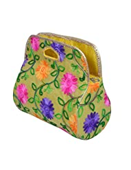 Angelfish Designer Floral Print Women Yellow Hand Purse