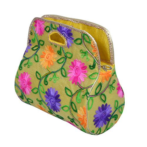 Angelfish Designer Floral Print Women Yellow Hand Purse