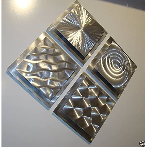 4 Squares Modern Abstract Metal Wall Art Sculpture Contemporary Home Accents