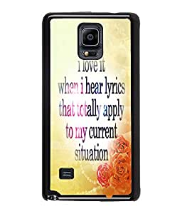 Fuson Meaningful Text Back Case Cover for SAMSUNG GALAXY NOTE 4 - D3870