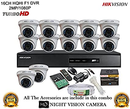 Hikvision DS-7216HQHI-E2 16CH Dvr, 12(DS-2CE56DOT-IRP) Dome Cameras (With Mouse, Remote, 2TB HDD,Cable , Bnc&Dc Connectors,Power Supply)