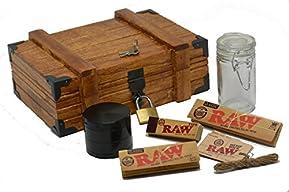 Vintage 'Treasure Chest' Wooden Stash Box w/ Lock