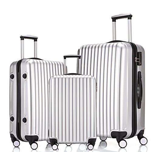 Focheir Travel Luggage Set 3PCS Hardsided Suitcase ABS PC Silver