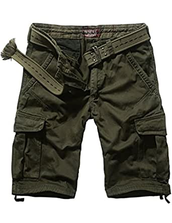 Match Mens Twill Cargo Shorts Quick-dry Summer Shorts S3612(Label size 2XL/36 (US 34),3551 Army green)