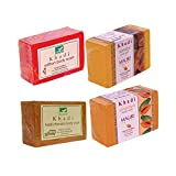 Khadi Mauri Papaya Sandal Saffron Haldi-Chandan Soap - Combo Pack of 4 - Premium Handcrafted Herbal (Sandal)