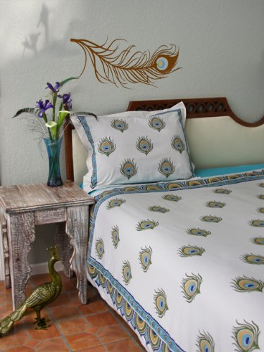 Dance O Peacock ~ Ivory Peacock Feather Print Queen Duvet Cover 90X90 front-585497