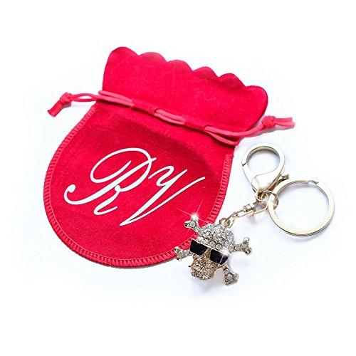 Color Oro teschio di strass portachiavi con ciondolo borsetta portachiavi regalo, nuova collezione 2016