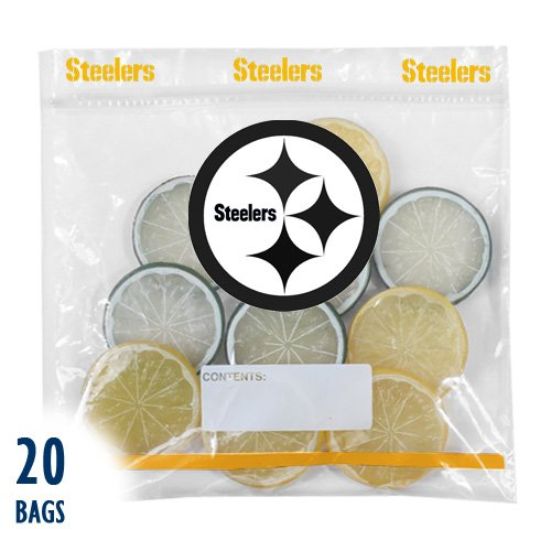 NFL Plastic Pittsburgh Steelers Press to Close Quart Food Storage Bag (Pack of 20)