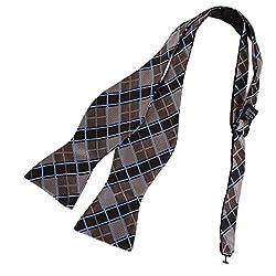 DBA7C03B Brown Excellent Fabric Checkered Self-tied Bowtie Pretty Husband Microfiber Whole Sale Gift Idea By Dan Smith