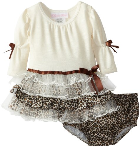 Bonnie Baby-Girls Newborn Fuzzy Leopard Tiered Dress, Ivory, 6-9 Months front-865098