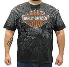 Harley-Davidson Mens Wings Of Fury Allover Print with B&S Black Short Sleeve T-Shirt - LG
