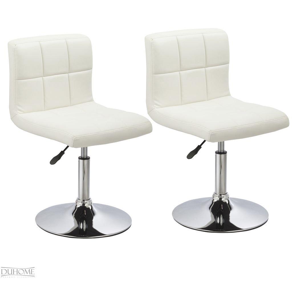 2er Set Küchensstuhl / Esszimmerstuhl, höhenverstellbar, aus Kunstleder in WEISS Model 632    Kundenbewertung und Beschreibung