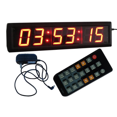 "Large Led Wall Clock 2.3"" High Character 6 Digits Red Color Led Digital Clock 12/24-Hour Display Real Time Clock Support Countdown/Up Function In Hours Minutes Seconds Can Set Up To 99 Hours 59 Minutes 59 Seconds Aluminum Case Ir Remote Control"